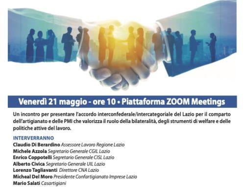 21 Maggio 2021 ore 10.00 Presentazione Accordo Interconfederale/Intercategoriale del Lazio